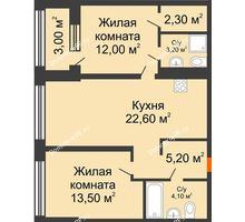 2 комнатная квартира 65,9 м² в ЖК Речной порт, дом № 6 - планировка