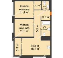 2 комнатная квартира 58,7 м² в Квартал Новин, дом 6 очередь ГП-6 - планировка