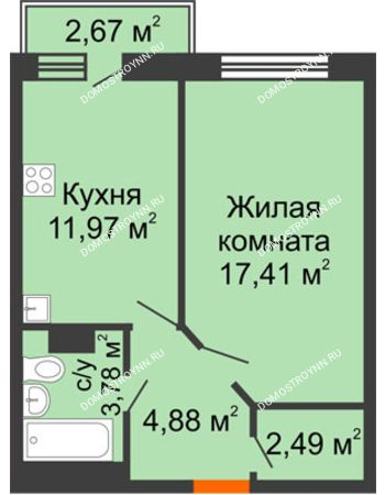 1 комнатная квартира 41,33 м² - ЖК Зеленый берег Life