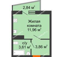 1 комнатная квартира 20,85 м² в ЖК Волна, дом 2 очередь (секция 4) - планировка