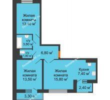 3 комнатная квартира 65,2 м² в ЖК Перспектива, дом Литер 3.5 - планировка