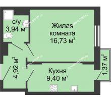 1 комнатная квартира 36,36 м², ЖК Соборный - планировка