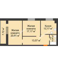 2 комнатная квартира 72,41 м² в ЖК Парк Горького, дом 62/18, № 6 - планировка
