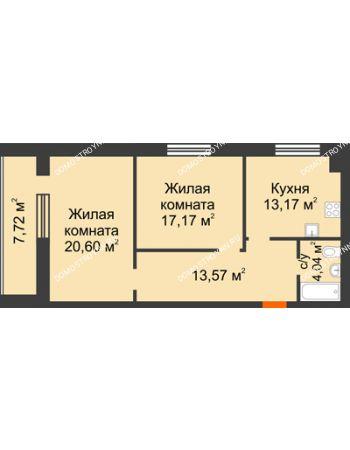 2 комнатная квартира 72,41 м² в ЖК Парк Горького, дом 62/18, № 6