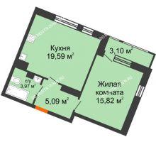 1 комнатная квартира 47,57 м² в ЖК Книги, дом № 2 - планировка