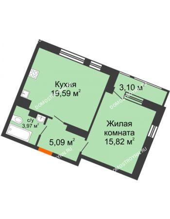 1 комнатная квартира 47,57 м² в ЖК Книги, дом № 2