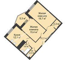 2 комнатная квартира 70,8 м² в ЖК Монолит, дом № 89, корп. 3 - планировка