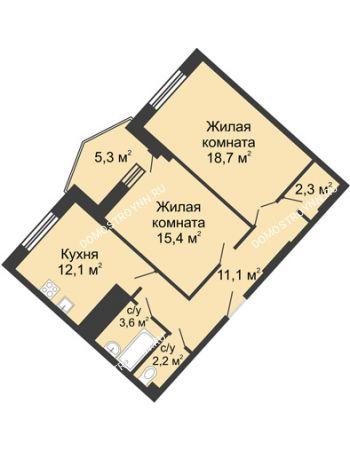 2 комнатная квартира 70,8 м² в ЖК Монолит, дом № 89, корп. 3