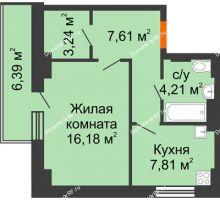 1 комнатная квартира 40,97 м² - ЖК Семейный