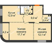 2 комнатная квартира 60,5 м², ЖК Лайнер на Барминской - планировка