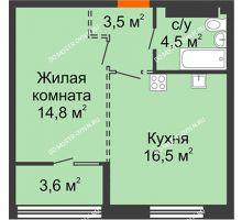 1 комнатная квартира 41,1 м², ЖК Лайнер на Барминской - планировка
