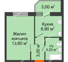 1 комнатная квартира 29,2 м² в ЖК Вересаево, дом Литер 11 - планировка