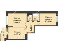 2 комнатная квартира 57,9 м² в ЖК Перспектива, дом Литер 3.5 - планировка