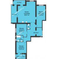 3 комнатная квартира 123,14 м² в ЖК Измаильский экоквартал, дом 1 этап - планировка