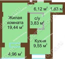 1 комнатная квартира 45,74 м² - ЖК Подкова Приокская