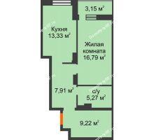 1 комнатная квартира 55,67 м² в ЖК Континент, дом № 16 - планировка