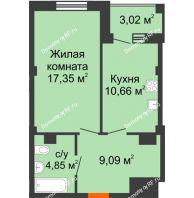 1 комнатная квартира 43,46 м² в Жилой район Берендей, дом № 14 - планировка