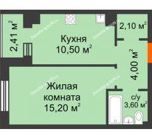1 комнатная квартира 36,6 м² в Микрорайон Прибрежный, дом № 8 - планировка