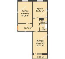 2 комнатная квартира 66,16 м² в ЖК Торпедо, дом № 19 - планировка