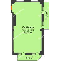 Студия 94,3 м², ЖК Sacco & Vanzetty, 82 (Сакко и Ванцетти, 82) - планировка