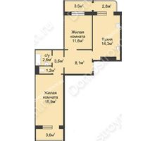 2 комнатная квартира 63,5 м² в ЖК Сормовская сторона, дом № 4