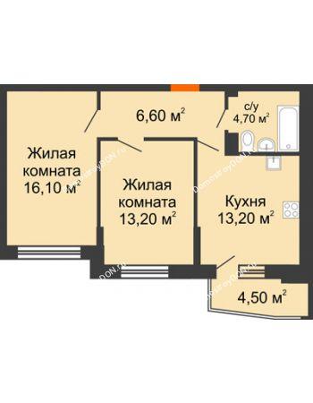 2 комнатная квартира 56,1 м² в ЖК Династия, дом Литер 2