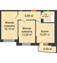 2 комнатная квартира 56,1 м² в ЖК Династия, дом Литер 2 - планировка