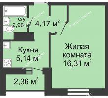 1 комнатная квартира 29,76 м² в ЖК Бурнаковский, дом № 38