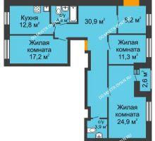 3 комнатная квартира 111,2 м² в ЖК Новая Кузнечиха, дом № 25 - планировка