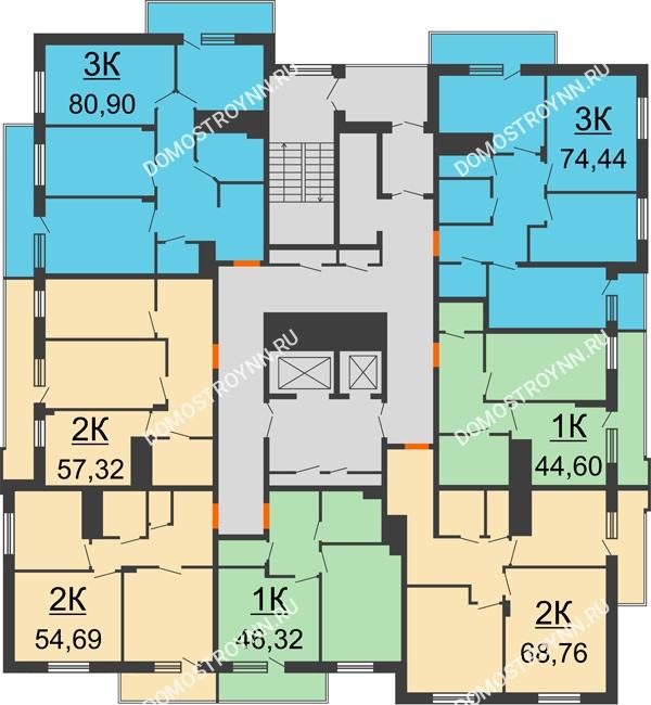 Планировка 10 этажа в доме № 3 в ЖК Циолковский