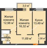 2 комнатная квартира 62,68 м² в ЖК Новоостровский, дом № 2 корпус 1 - планировка