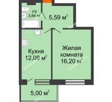 1 комнатная квартира 42,71 м² в ЖК Гвардейский 3.0, дом Секция 1 - планировка