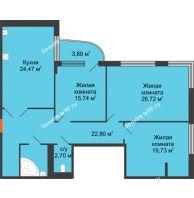 Студия 120,9 м², Жилой дом на ул. Платонова, 9,11 - планировка