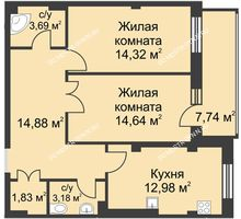 2 комнатная квартира 70,2 м² в ЖК Премиум, дом №1