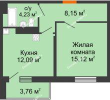 1 комнатная квартира 43,35 м² в ЖК Днепровская Роща, дом № 1 - планировка