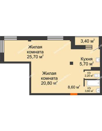 2 комнатная квартира 68,3 м² - ЖК Южная Башня