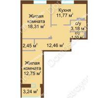 2 комнатная квартира 64,07 м² - Жилой дом Каскад на Даргомыжского