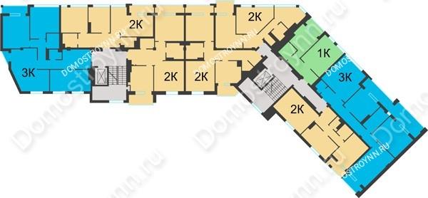 Планировка 4 этажа в доме №1 в ЖК Воскресенская слобода