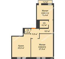 2 комнатная квартира 86,6 м², Жилой дом: ул. Варварская - планировка