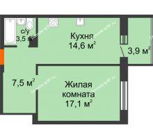 1 комнатная квартира 46,6 м² в ЖК Острова, дом 4 этап (второе пятно застройки) - планировка