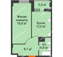 1 комнатная квартира 45,9 м² в ЖК Квартет, дом № 3 - планировка
