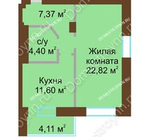 1 комнатная квартира 50,29 м² - ЖК Подкова Приокская