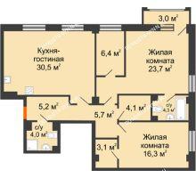 2 комнатная квартира 105,68 м² в ЖК Георгиевский, дом 6 - планировка