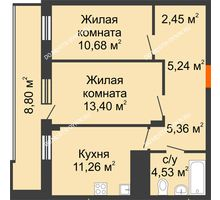 2 комнатная квартира 57,32 м² в ЖК Циолковский, дом № 5 - планировка