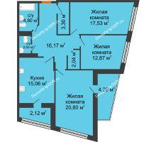 3 комнатная квартира 101,74 м² в Микрорайон Красный Аксай, дом Литер 21