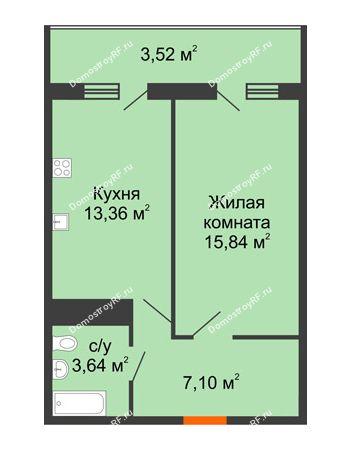 1 комнатная квартира 43,46 м² в ЖК Фамилия, дом Литер 1