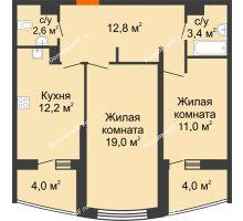 2 комнатная квартира 65 м² в ЖК Дружный 2, дом Литер 3.3 - планировка