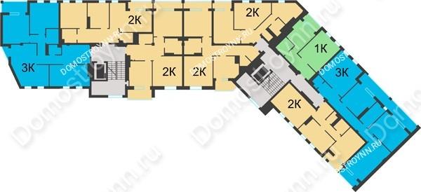 Планировка 5 этажа в доме №1 в ЖК Воскресенская слобода