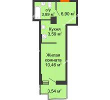 Студия 25,59 м² в ЖК Город у реки, дом Литер 7 - планировка
