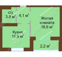 1 комнатная квартира 38,6 м² - Жилой дом: в квартале улиц Вольская-Витебская